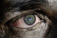 Elephant Man. Close up of a human eye with elephant skin Stock Photo