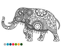 Elephant mandala ornament with colors samples Royalty Free Stock Photography