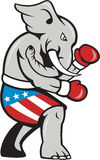 Elephant Mascot Boxer Boxing Side Cartoon Royalty Free Stock Photos