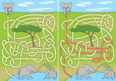 Elephant maze. For kids with a solution Royalty Free Stock Photo