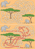 Elephant maze. For kids with a solution Stock Images