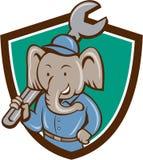 Elephant Mechanic Spanner Shoulder Crest Cartoon Royalty Free Stock Photo