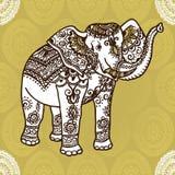 Elephant and mehendi ornament Stock Images