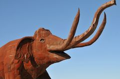 Elephant Metal Sculpture at Anza Borrego Desert California. Elephant metal sculptures in the Anza Borrego Desert. Sculptures are public art displayed over many royalty free stock photos