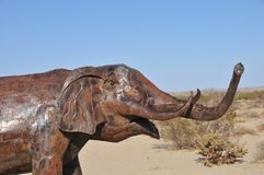 Elephant Metal Sculpture at Anza Borrego Desert California. Elephant metal sculptures in the Anza Borrego Desert. Sculptures are public art displayed over many stock image
