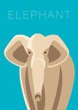 Elephant. Minimalistic vector illustration on blue background. Stock Photos
