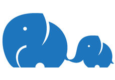 Elephant mom and child. Isolated on white Stock Images