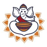 Elephant in monac hat and robe with empty bowl. Elephant in monach hat and robe with empty bowl that has ethnic pattern. Traditional national Indian animal royalty free illustration