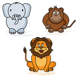 Elephant, monkey and lion - the style of childrens drawings Royalty Free Stock Photo