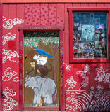 Elephant, monkey, rabbit and bird painting on door, San Francisc Royalty Free Stock Photos