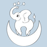 Elephant on the moon, stars Royalty Free Stock Photo