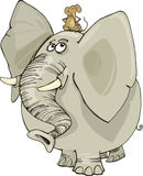 Elephant with mouse. Cartoon illustration of funny elephant with mouse on his head Royalty Free Stock Photo