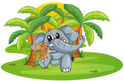 Elephant and mouse. Illustration of elephant and mouse on a white background Royalty Free Stock Images