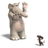 Elephant and mouse. A funny cartoon elephant is scared by a mouse. With Clipping Path over white royalty free illustration