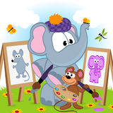 Elephant and mouse draw portraits Stock Photo