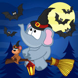 Elephant and mouse halloween. Vector illustration, eps Royalty Free Stock Photo
