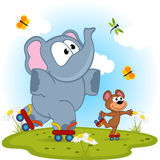 Elephant and mouse roller skating Stock Photography