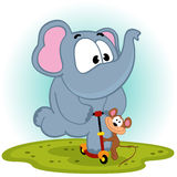 Elephant and mouse on scooter Royalty Free Stock Images
