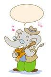 Elephant music2. Writing elephant playing acoustic guitar happy Royalty Free Stock Images
