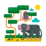 Elephant near fence and bird on abstract branches. Zoo picture Royalty Free Stock Photo