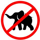 Elephant not allowed prohibition red circle warning road sign, i. Solated on white background royalty free illustration