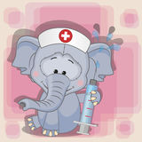 Elephant nurse. With a syringe in his hand Stock Photo
