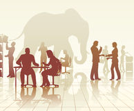 Elephant in the office stock illustration