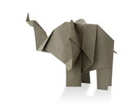 Elephant origami. Traditional elephant origami from recycled paper Stock Photography