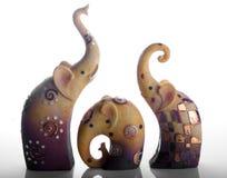 Elephant ornaments. Three elelphant ornaments in a row Royalty Free Stock Photo