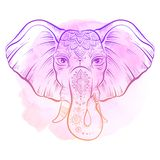 Vector african elephant in sketch style. Happy Holi traditional indian festival illustration. Elephant with ornate lotus mandal. Ethnic elephant background Stock Images