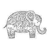 Elephant ornate, sketch for your design Stock Image