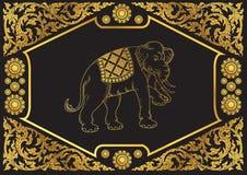 Elephant outline stroke on pattern background Stock Image