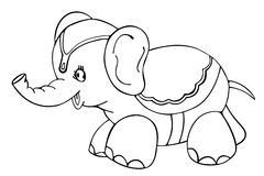 Elephant - outlined. Vectorized drawing of a circus Elephant. Only the outline, for coloring Royalty Free Stock Image