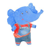 Elephant in overalls. Watercolor illustration  on white background Stock Photos