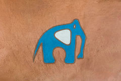 Elephant painted on the cement wall. Stock Photo