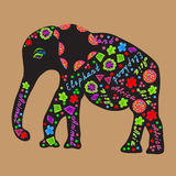 Elephant painted markers, bright  illustration   f Royalty Free Stock Images