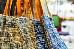 Elephant Painted Tote Bag. Thai Handmade Stock Photo
