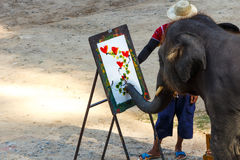 Elephant is painting by oil color at Mae Sa elephant camp , Chiangmai ,Thailand stock photography