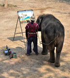 Elephant painting. A picture by using its nose in the Maesa Elephant Camp, Chiangmai, Thailand stock photos