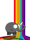 Elephant painting a rainbow Royalty Free Stock Photos