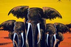 Elephant painting, Stone Town, Zanzibar, Tanzania Stock Photography