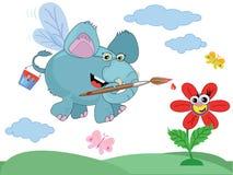 An elephant paints  a flower Royalty Free Stock Photos