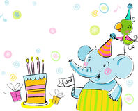 Elephant and a parrot. Greetings happy birthday, with free space for text, may be used as greeting card Royalty Free Stock Photos