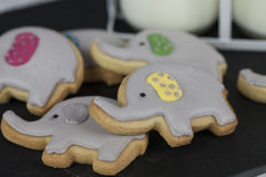 Elephant Party Biscuits or Cookies with Two little Jugs of Milk Stock Photos