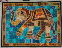 Elephant patchwork from Rajastan. Elephant patchwork piece from Udaipur, India Stock Photos