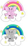 Elephant pattern. Happy elephant sitting on a cloud Royalty Free Stock Image