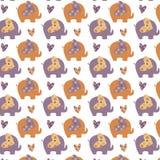 Elephant pattern. Cute elephant pattern orange and purple Vector Illustration