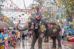 Elephant and peoples are splashing water in Songkran festival royalty free stock photography