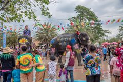 Elephant and peoples are splashing water in Songkran festival royalty free stock photo