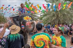 Elephant and peoples are splashing water in Songkran festival stock photos